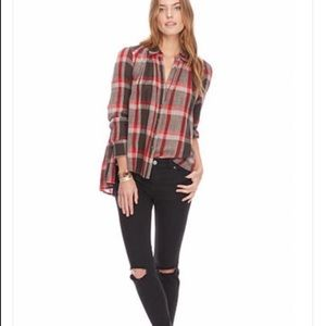 Free People Peppy in Plaid Button Up Top Size S